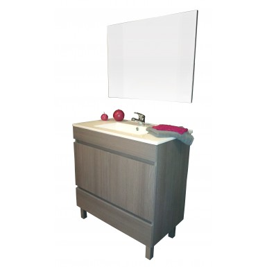 Meuble salle de bain à poser sous vasque LANCELO 80 gris foncé et style  moderne