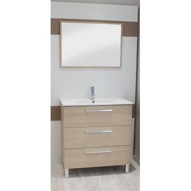 Meuble salle de bain sous vasque pallas 80 couleur bois clair avec plan c ramique moderne - Meuble bois clair moderne ...