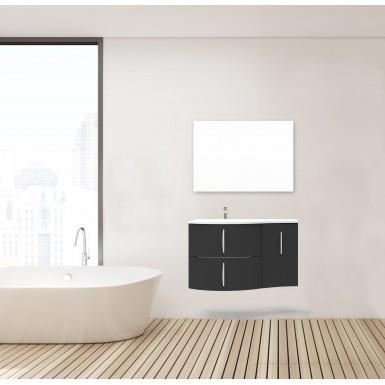 Meuble sdb sous lavabo FROLLO laqué de couleur gris et moderne avec plan en  céramique