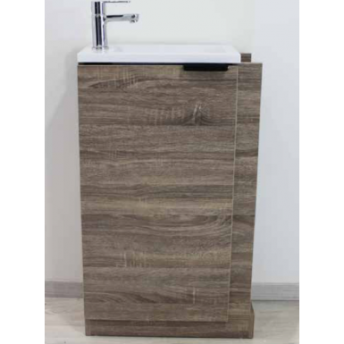 Meuble lave-mains sdb WOODY en mélanine et bois moderne