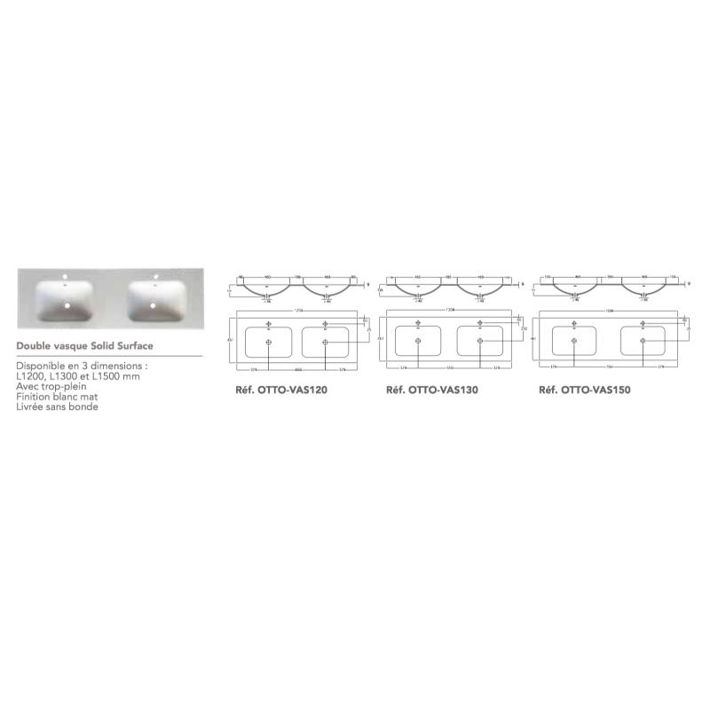 Plan vasque simple ou double OTTO IROKO en SOLID SURFACE - Robinet&Co