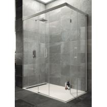 Paroi de douche d'angle TANDEM accès sur angle avec retour repliable
