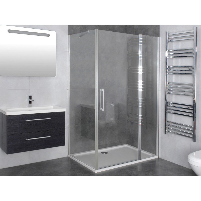 paroi de douche d 39 angle porte battante helia d robinet. Black Bedroom Furniture Sets. Home Design Ideas