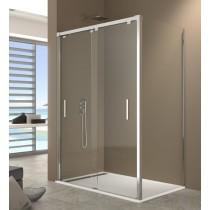 Paroi de douche d'angle DUAL double accès sur coté