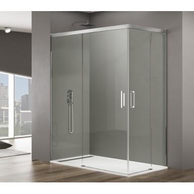 Paroi de douche d 39 angle rhea acc s sur angle avec profil s chrom s blancs ou noirs robinet co - Paroi de douche 100 ...