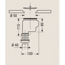 Bonde à sortie verticale pour receveur LINE, TWINS et ARQ de chez Hidrobox