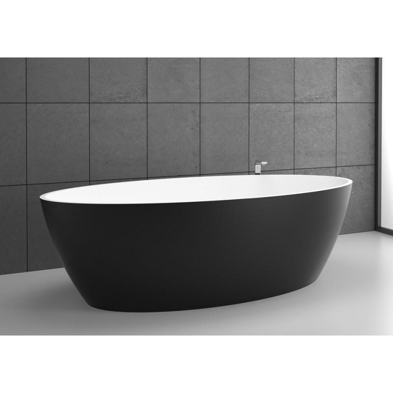 Baignoire ilot solid surface space 155 noir graphite for Baignoire noire design