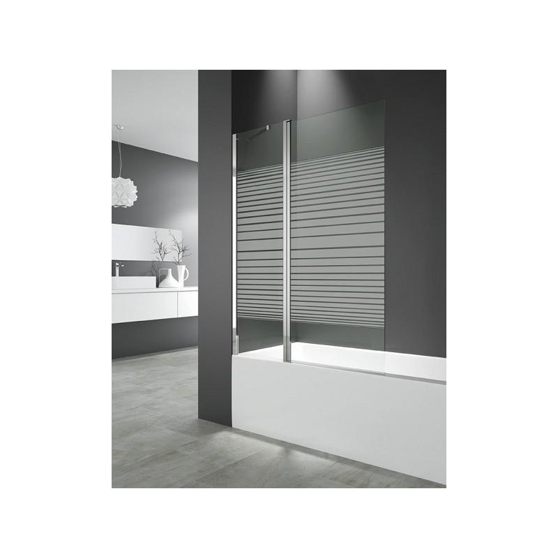 Paroi de baignoire 122 x 150 cm cronos ii verre 6 mm serigraphie robinet and - Paroi verre baignoire ...