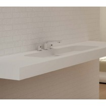 Plan mural avec vasque large blanc mat CODE Solid Surface