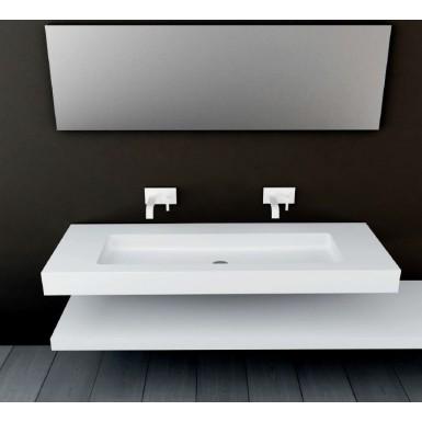 Plan vasque mural blanc mat SOHO Solid Surface vasque XL à suspendre