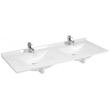 Plan RESIPLAN double vasque en marbre de synthèse profondeur 55 cm