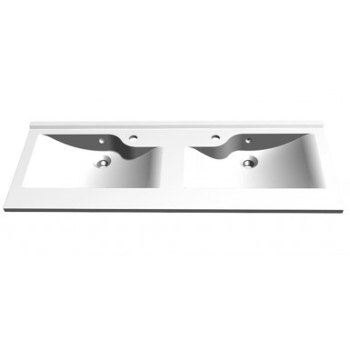 Plan RESILOGE double vasque en marbre de synthèse profondeur 46 cm