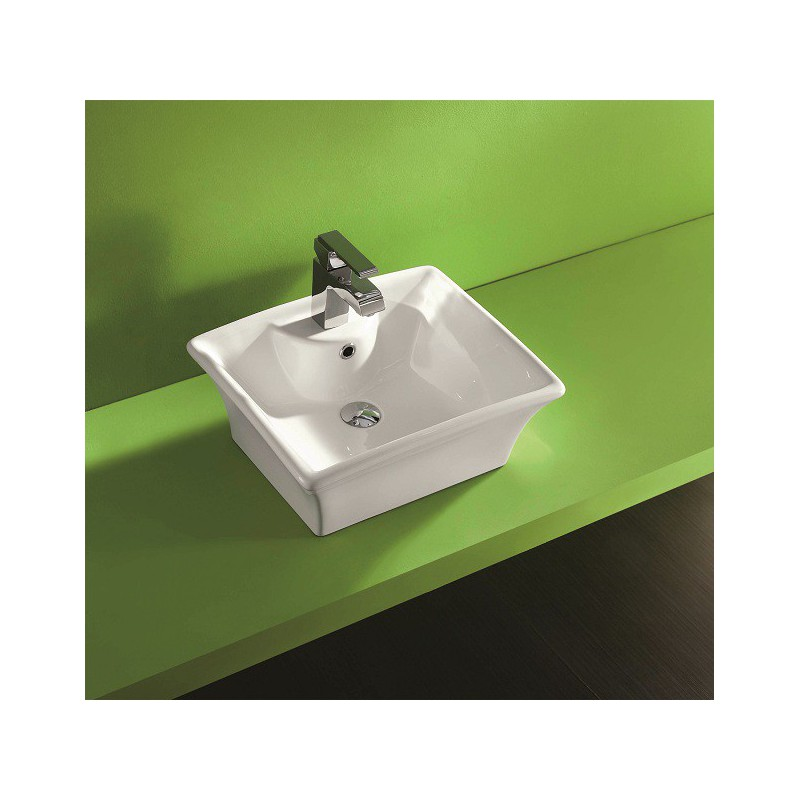 Vasque poser en porcelaine maill e tibre robinet and for Lavabo ceramique ou porcelaine
