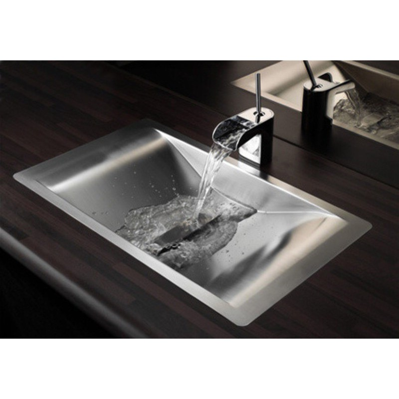 Lavabo design inox encastrer wave reginox robinet and for Lavabo salle de bain rectangulaire