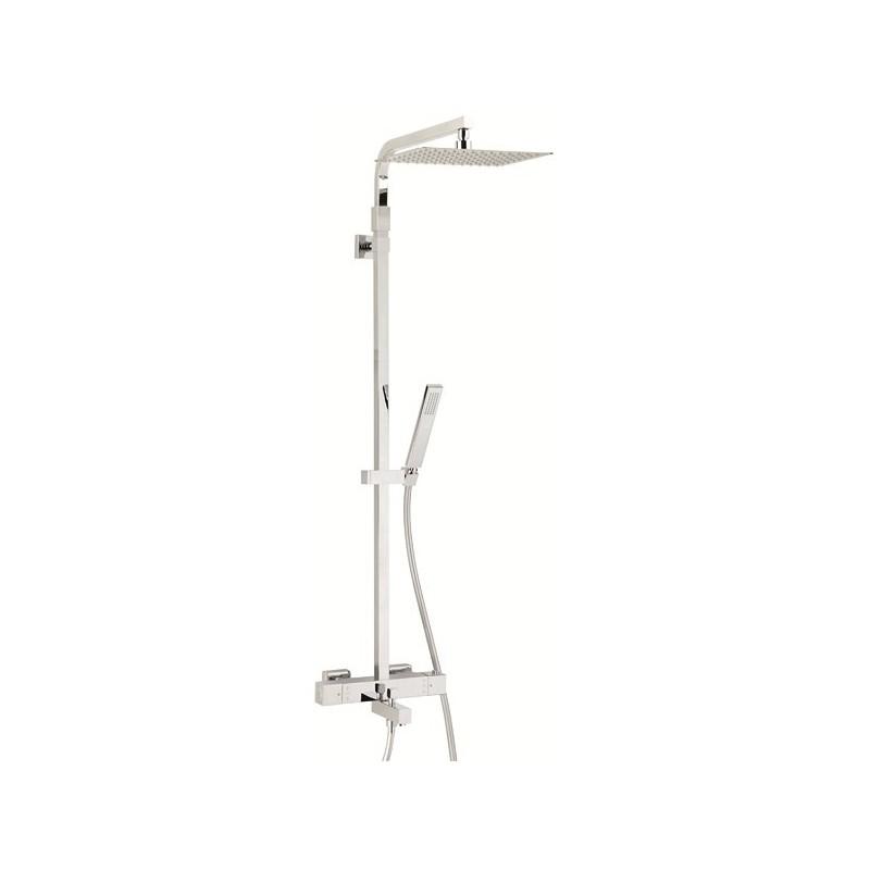 Colonne bain douche thermostatique touareg valentin avec tablette porte objet - Colonne de douche bain ...