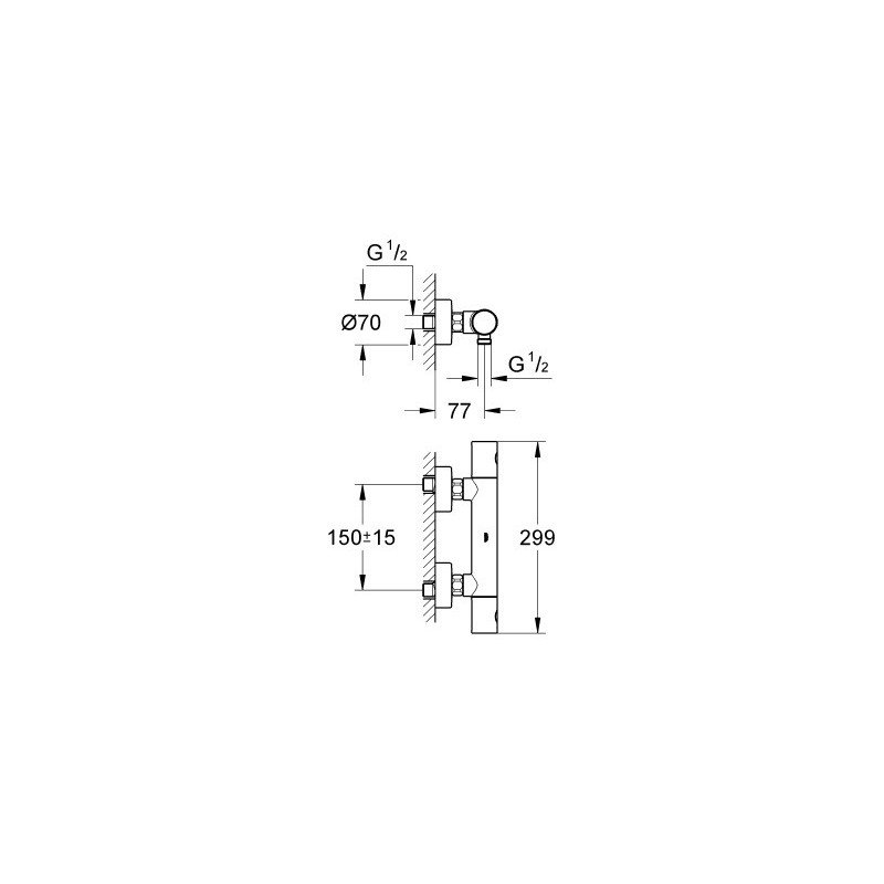Mitigeur mural thermostatique douche grohe grohtherm 1000 - Mitigeur grohe thermostatique 1000 ...
