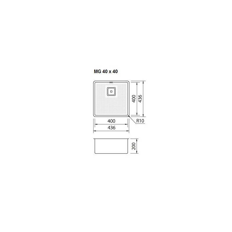 cuve evier inox sous plan mg 40 x 40 cm robinet and co evier. Black Bedroom Furniture Sets. Home Design Ideas