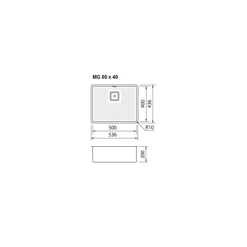 cuve evier inox sous plan mg 50 x 40 cm robinet and co evier. Black Bedroom Furniture Sets. Home Design Ideas