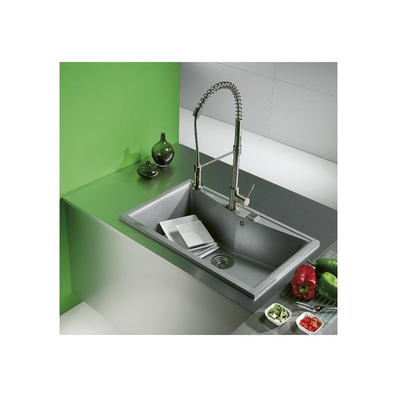 Evier encastrer meuble 90 cm 1 bac gris soie ral 7044 for Meuble evier un bac