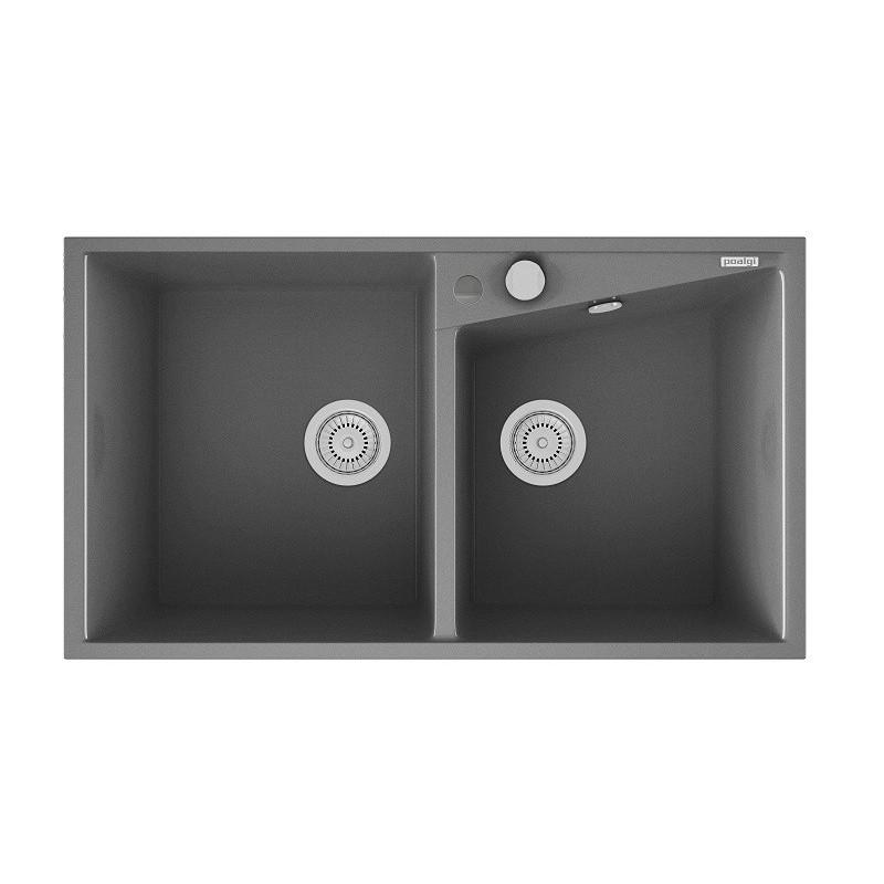Evier encastrer meuble 90 cm 2 bacs gris m tal robinet for Evier cuisine gris