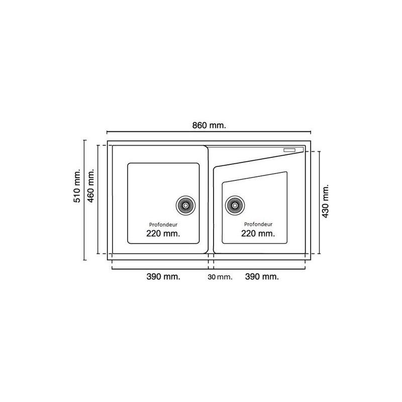 evier encastrer meuble 90 cm 2 bacs vert blanc ral 6019. Black Bedroom Furniture Sets. Home Design Ideas