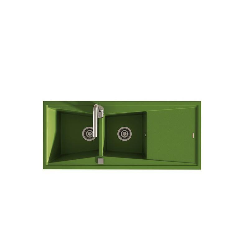 evier encastrer meuble 80 cm 2 bacs et gouttoir vert