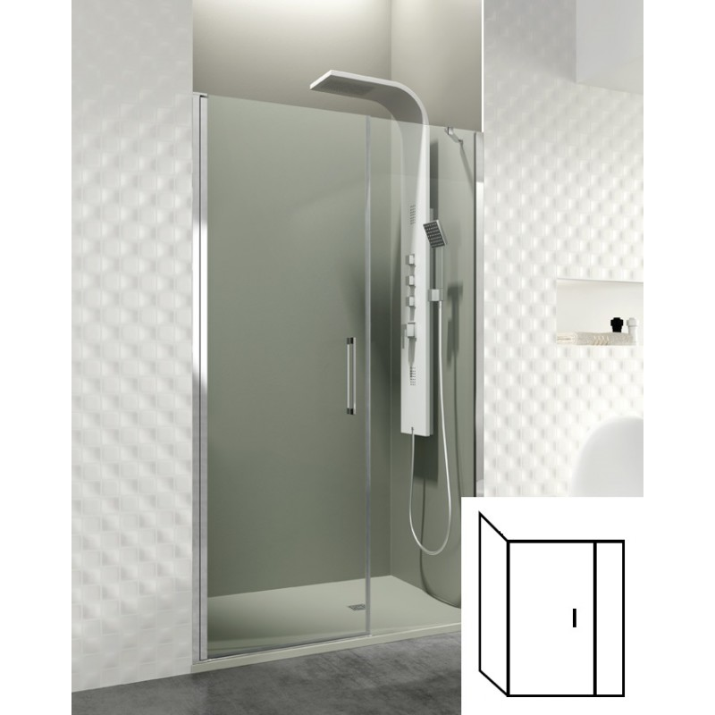 Paroi de douche d 39 angle porte battante helia e robinet for Porte de douche battante