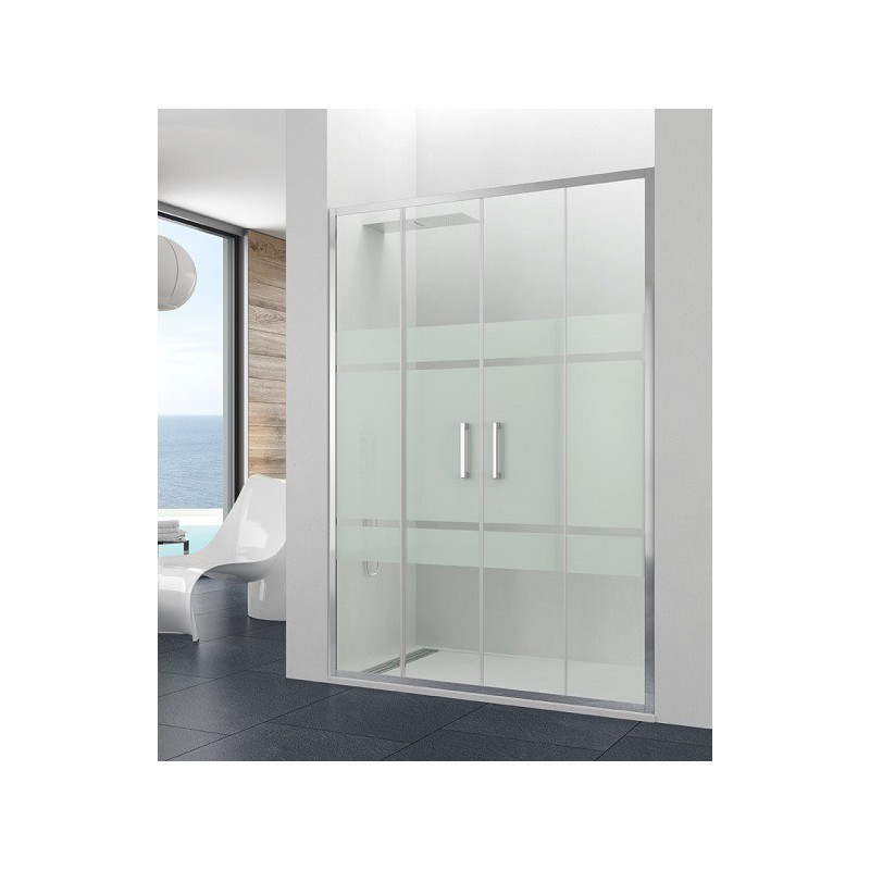 paroi de douche double coulissante theia spazio satin 160 cm robinet and co. Black Bedroom Furniture Sets. Home Design Ideas