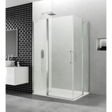 Paroi de douche d 39 angle portes battantes helia h 80 x 100 cm robinet co - Paroi de douche 100 ...
