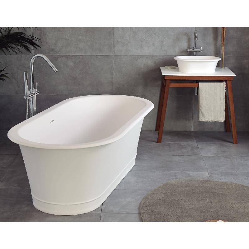 Baignoire ilot solid surface classic sur pieds sanycces robinet and co baignoire for Baignoire sur pieds