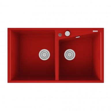 evier encastrer meuble 90 cm 2 bacs rouge robinet and co evier. Black Bedroom Furniture Sets. Home Design Ideas