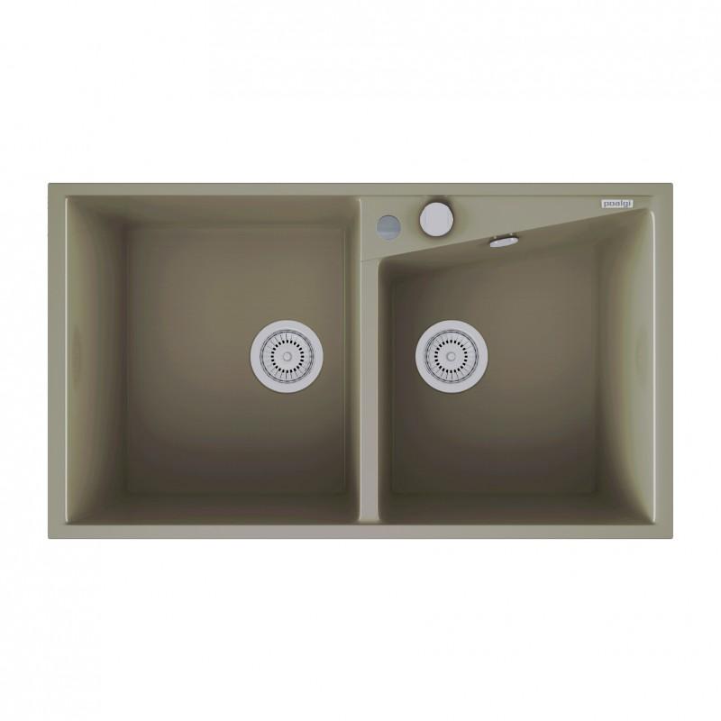 evier encastrer meuble 90 cm 2 bacs gris galet robinet and co evier. Black Bedroom Furniture Sets. Home Design Ideas