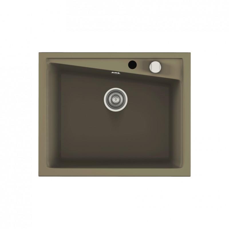 Evier encastrer meuble 70 cm 1 bac brun taupe robinet for Meuble evier un bac
