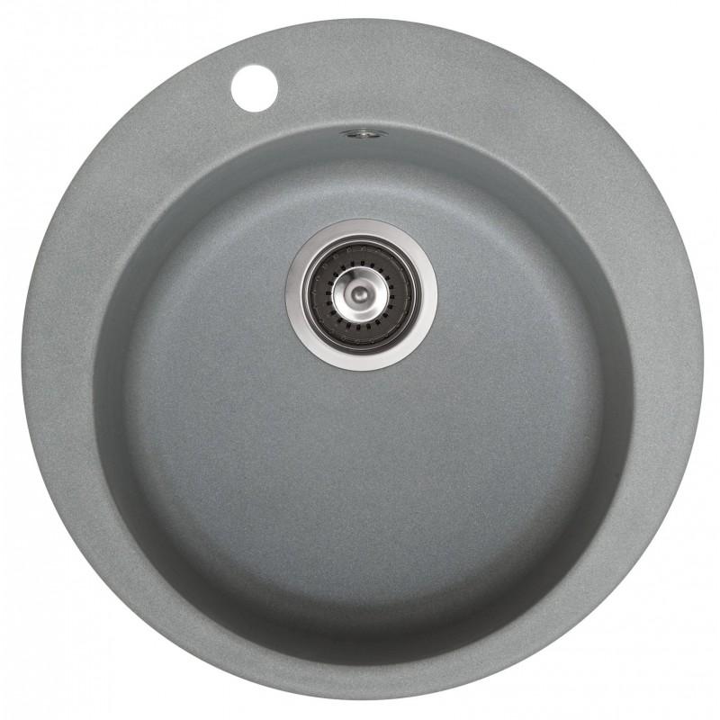 Evier encastrer cuve ronde diam tre 480 mm gris m tal for Petit evier rond