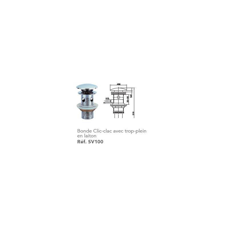 bonde clic clac en laiton robinet and co accessoires lavabos et vasques. Black Bedroom Furniture Sets. Home Design Ideas