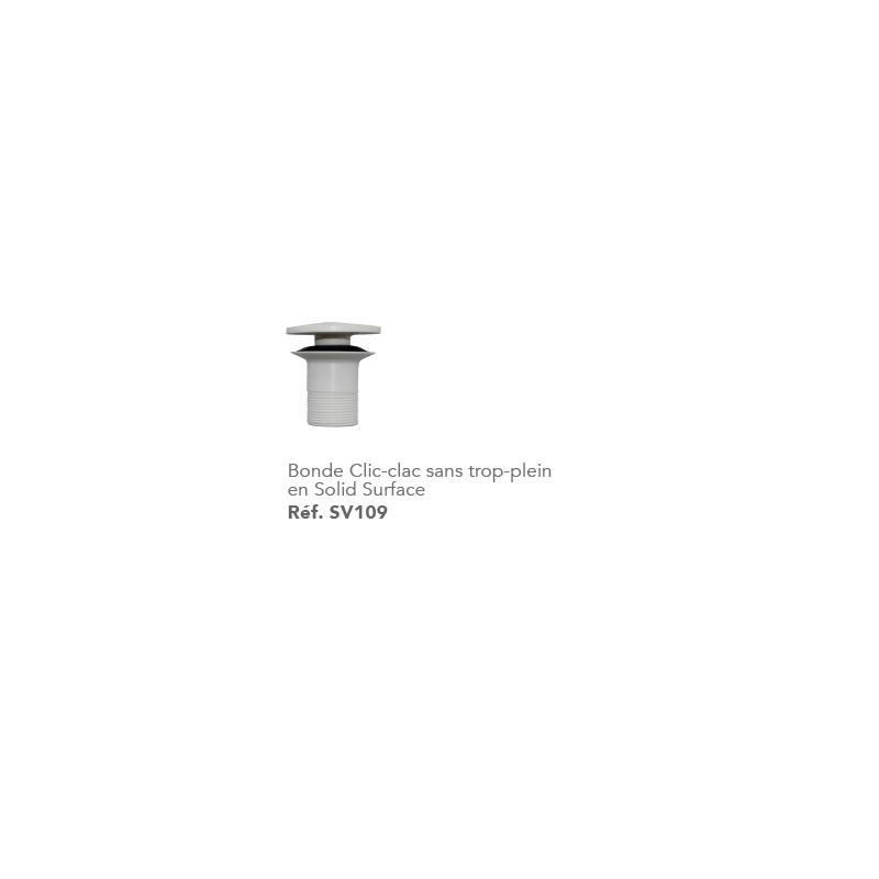 bonde clic clac en solide surface robinet and co accessoires lavabos et vasques. Black Bedroom Furniture Sets. Home Design Ideas