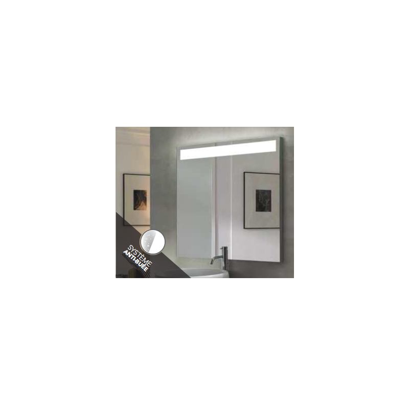 Miroir aba avec bandeau a led horizontal robinet and co for Miroir horizontal
