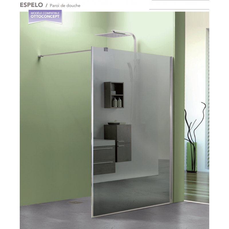 Paroi de douche fixe espelo avec verre miroir robinet for Miroir pour douche