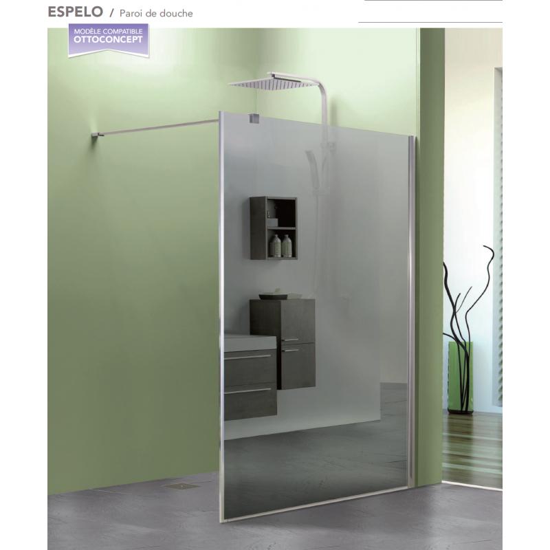 paroi de douche fixe espelo avec verre miroir robinet. Black Bedroom Furniture Sets. Home Design Ideas
