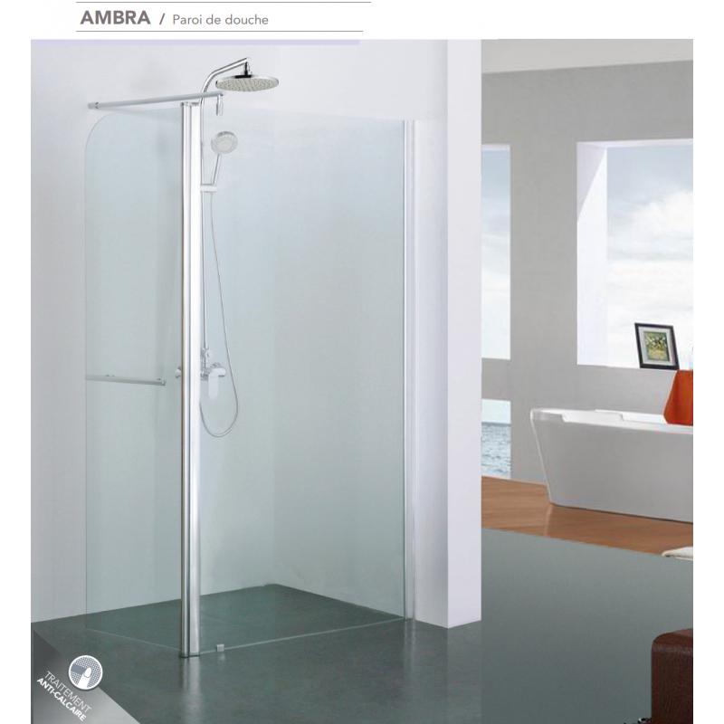 paroi de douche fixe ambra avec retour pivotant robinet. Black Bedroom Furniture Sets. Home Design Ideas