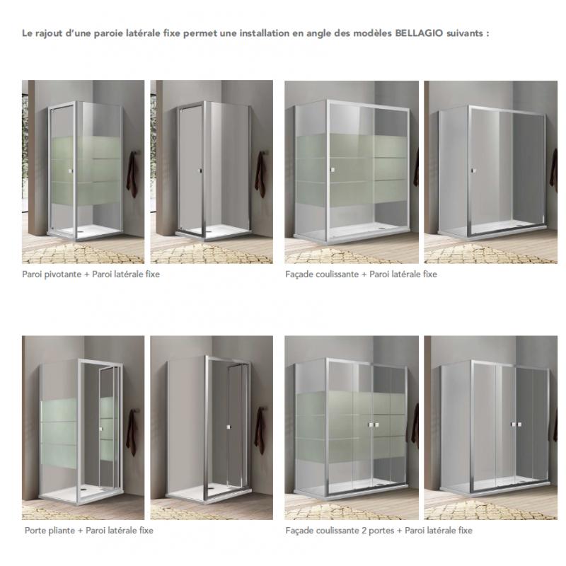 Paroi de douche d 39 angle bellagio avec porte coulissante robinet and co paroi de douche - Porte coulissante angle droit ...