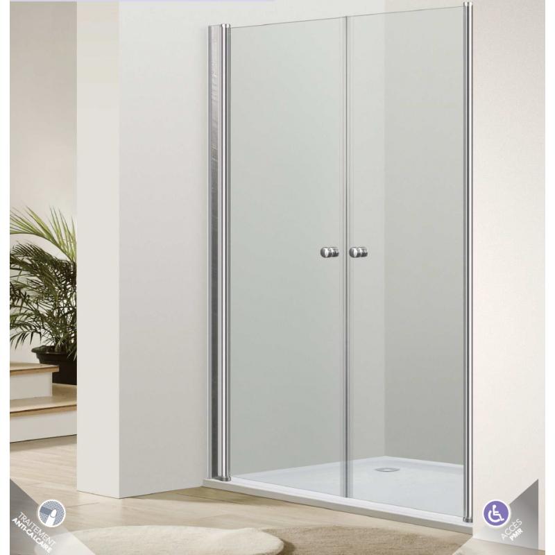 Paroi de douche frontale portes battantes venus robinet for Fenetre verre securit
