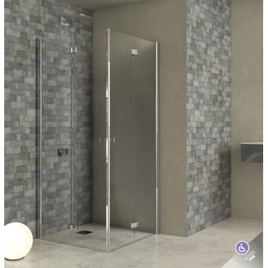 Paroi de douche acc s d 39 angle double porte pliante adam robinet and co paroi de douche - Paroi de douche pliante ...