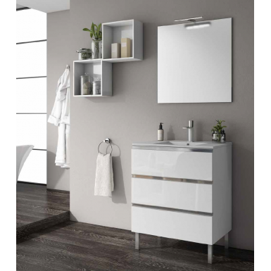 Meuble de salle de bain sur pieds SAMOA 3 tiroirs