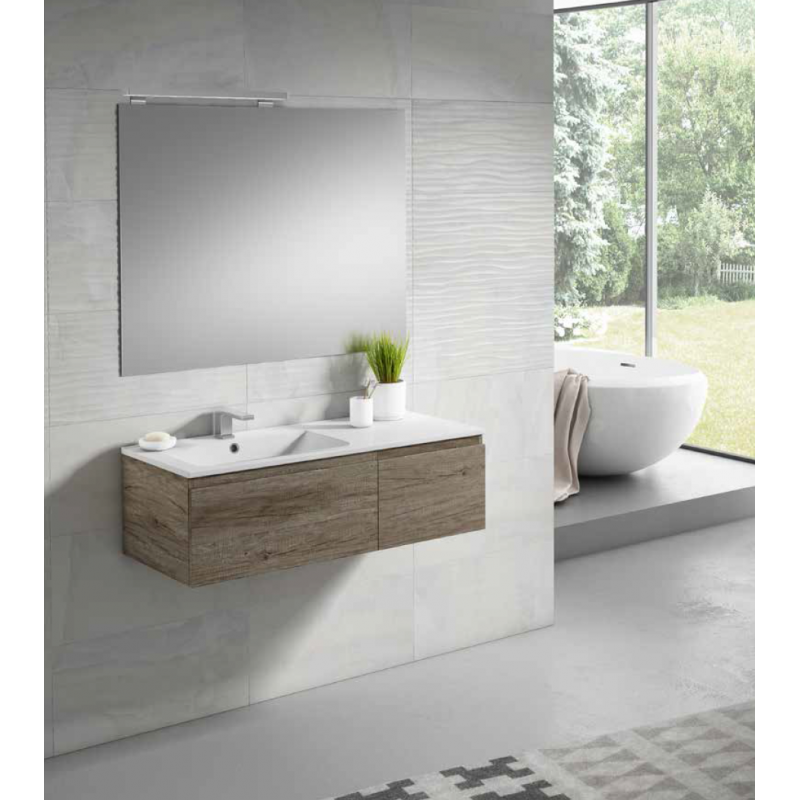 Meuble suspendu rio pour vasque décalée avec 2 tiroirs ou niche