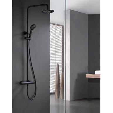 Modèle de colonne de douche en acier inoxydable avec deux arrivées d'eau et un mitigeur thermostatique