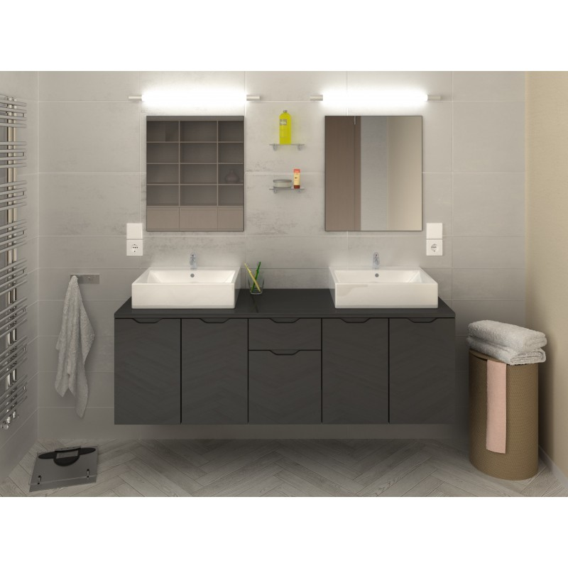 ensemble de salle de bain suspendre lisia longueur 150 cm robinet and co meuble suspendu. Black Bedroom Furniture Sets. Home Design Ideas