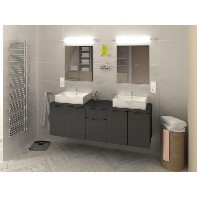 Ensemble de salle de bain suspendre lisia longueur 150 cm robinet and co meuble suspendu - Meuble de salle de bain 150 cm ...