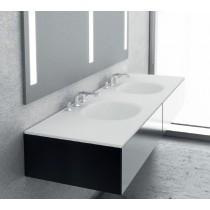 Plan double vasque blanc mat FLOW Solid Surface Hidrobox 200x48cm blanc avec vasque percée pour réception d'un mitigeur