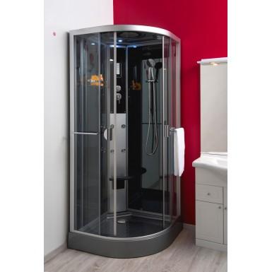 Cabine de douche hydro NED grise 1/4 cercle 90 noire très moderne